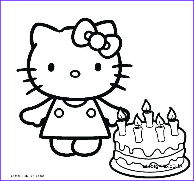Hello Kitty Birthday Coloring Pages Beautiful Collection Hello Kitty Line Drawing at Getdrawings