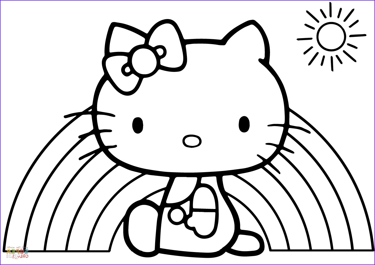 Hello Kitty Coloring Book Cool Collection Hello Kitty Rainbow Coloring Page