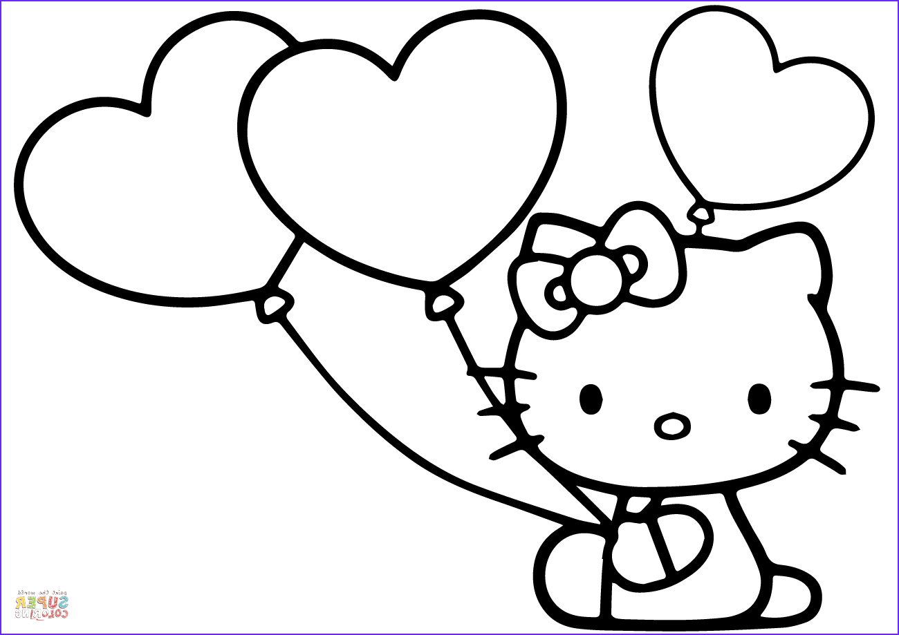 Hello Kitty Coloring Pages Pdf Inspirational Stock Hello Kitty with Heart Balloons Coloring Page