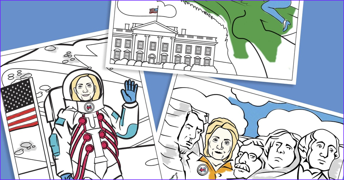 this hillary clinton coloring book from sheknows reminds girls they can be president in the best