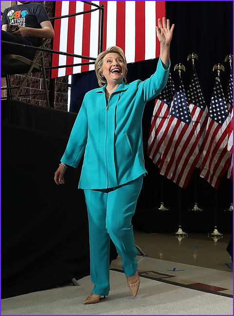 hillary clintons colorful pantsuits