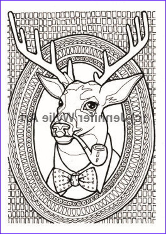 Hipster Coloring Pages Beautiful Stock Hipster Deer Taxidermy Adult Coloring Page Coloring Book