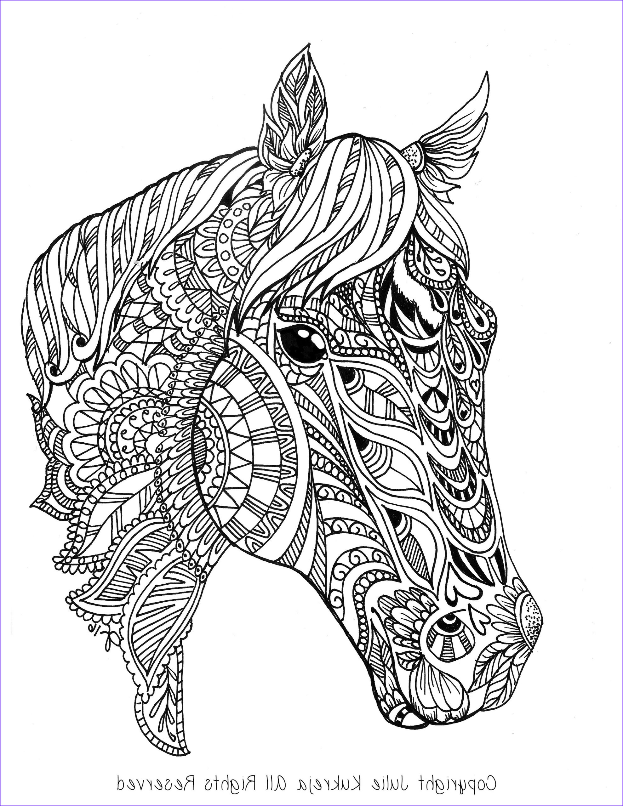 Horse Coloring Book for Adults Unique Collection Custom Pet Portrait Horse Adult Coloring Book Style by