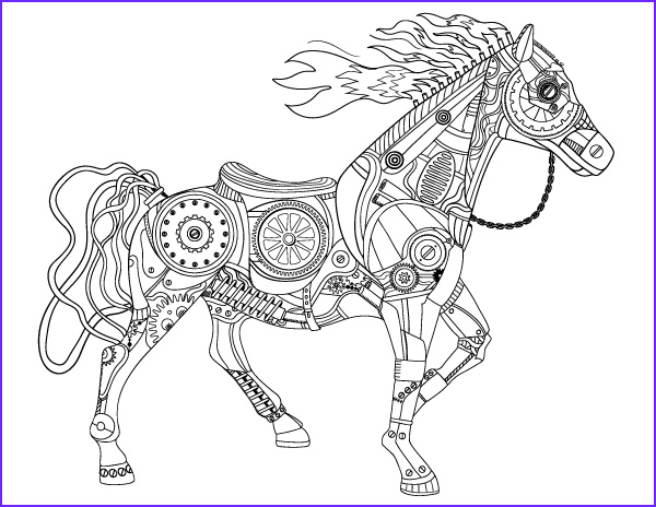steampunk horse coloring page