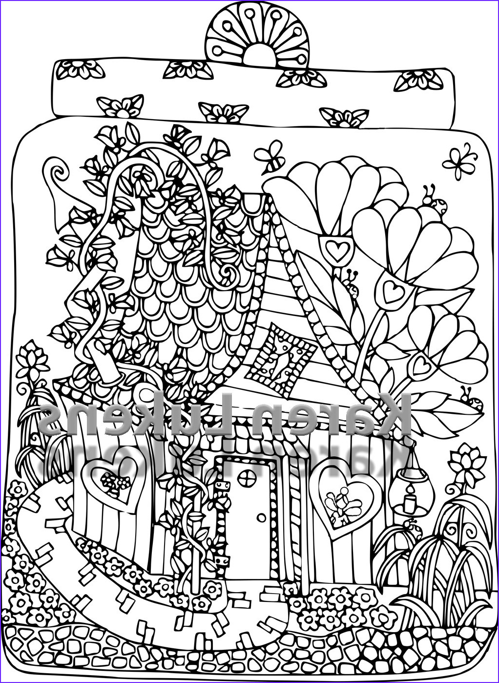 fairy house 3 1 adult coloring book page