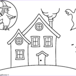 House Coloring Book Inspirational Collection Haunted House With Witch Coloring Page Halloween