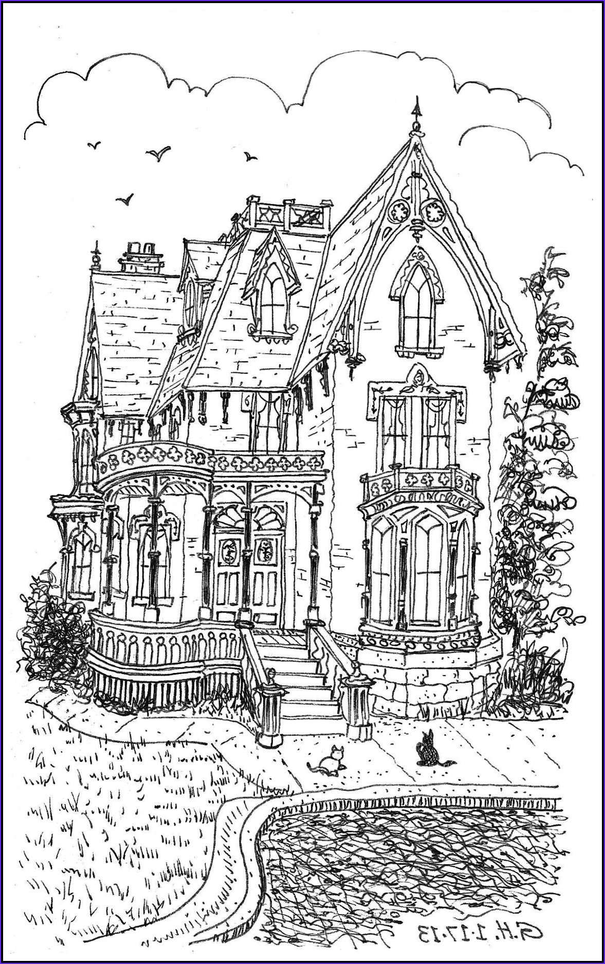 """Houses Coloring Book Beautiful Photography Icolor """"architecture"""" Victorian Loose Line 1177x1895"""