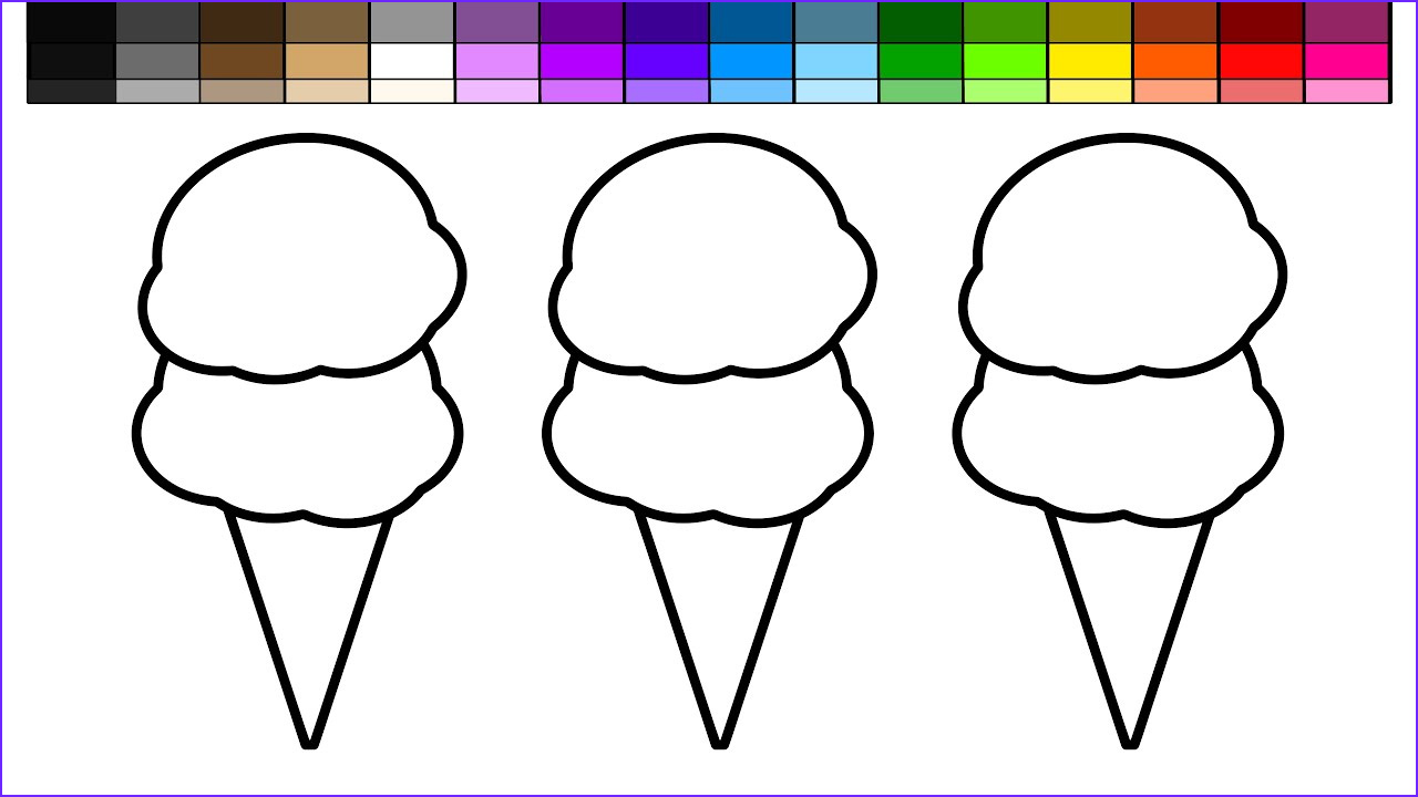 Icecream Cone Coloring Pages Unique Images Learn Colors for Kids and Color Beach Double Ice Cream