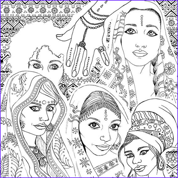 India Coloring Books Unique Collection Coloring Book for Adults Indian & African Fashion Portraits