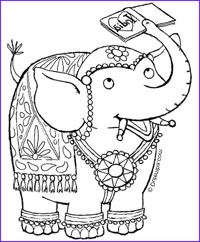 coloring page tuesday indian elephant