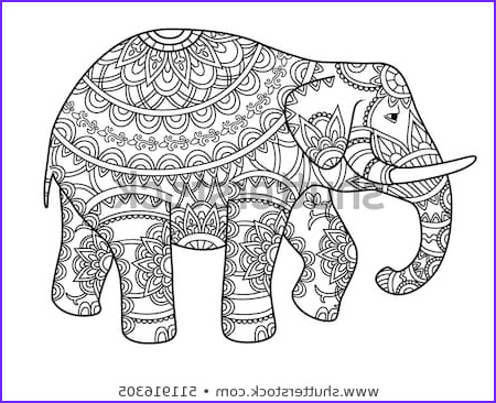 hand drawn decorative outline elephant indian