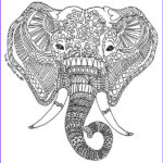 """Indian Elephant Coloring Pages Printable Elegant Collection Printable Zen Critters """"sun Elephant"""" Coloring Page"""