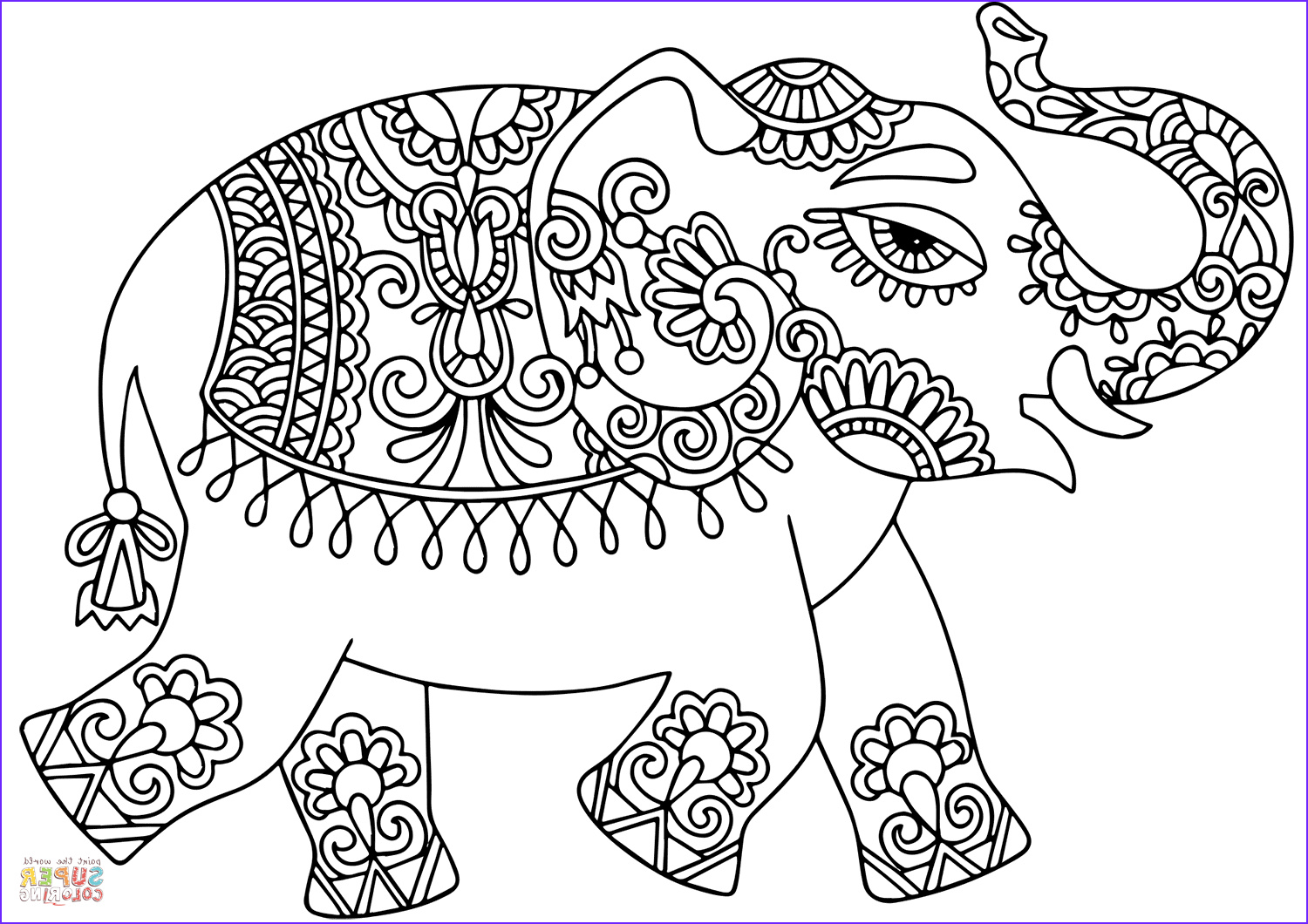 elephant with indian pattern