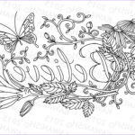 Inspirational Adult Coloring Pages Beautiful Photography Believe Flower Inspirational Adult Coloring Page T Wall Art