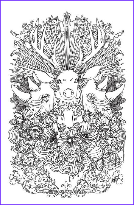 Intricate Coloring Book Cool Image Stunning Wild Animals Coloring Page