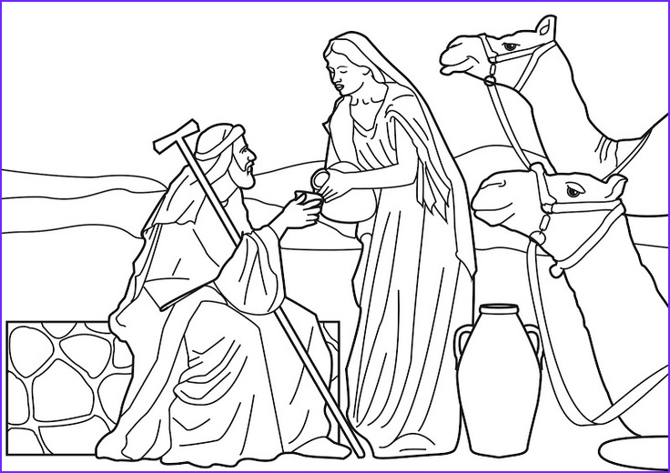 Isaac and Rebekah Coloring Pages Awesome Photos Rebecca at the Well with Abraham S Servant Bible Coloring
