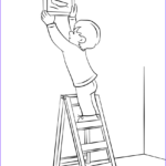 Jacob's Ladder Coloring Page Awesome Collection Boy Hanging Picture On A Wall With Ladder Coloring Page