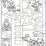 Japan Coloring Book Beautiful Photography Let S Learn About Japan Activity And Colouring Book
