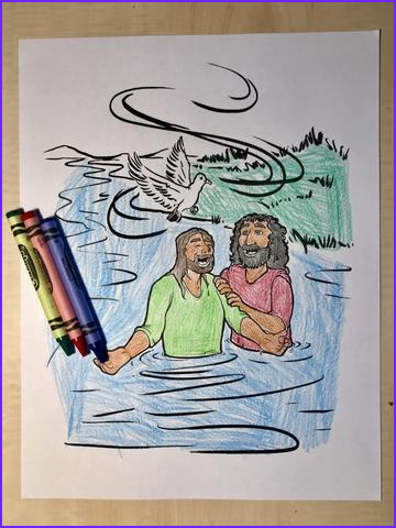 jesus is baptized coloring page