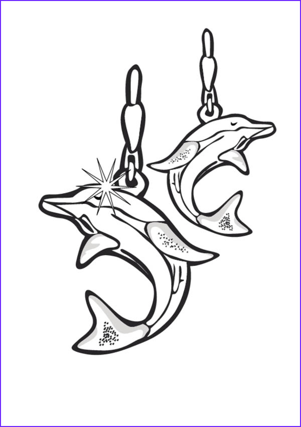 dolphin earrings jewelry coloring page