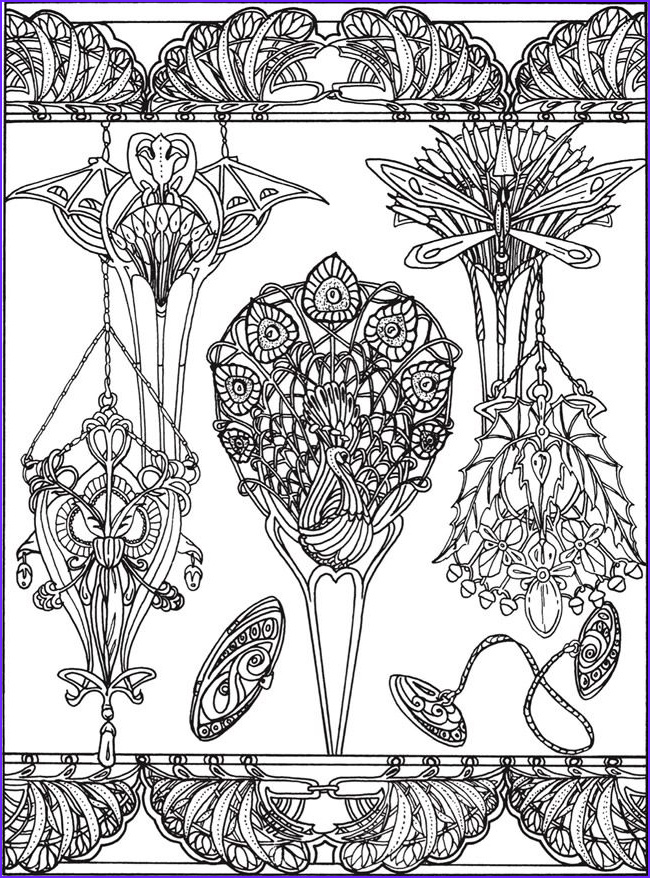 Jewelry Coloring Pages Cool Photos Printable Coloring Page by Dover Publications Art Nouveau