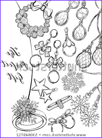 Jewelry Coloring Pages New Collection Jewelry Sketch Stock Royalty Free & Vectors