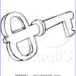 Key Coloring Page Beautiful Photos Clipart Outlined Skeleton Key 3 Royalty Free Vector