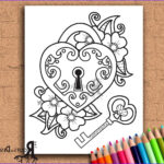 Key Coloring Page Luxury Collection Instant Download Coloring Page Key To My Heart Doodle Art