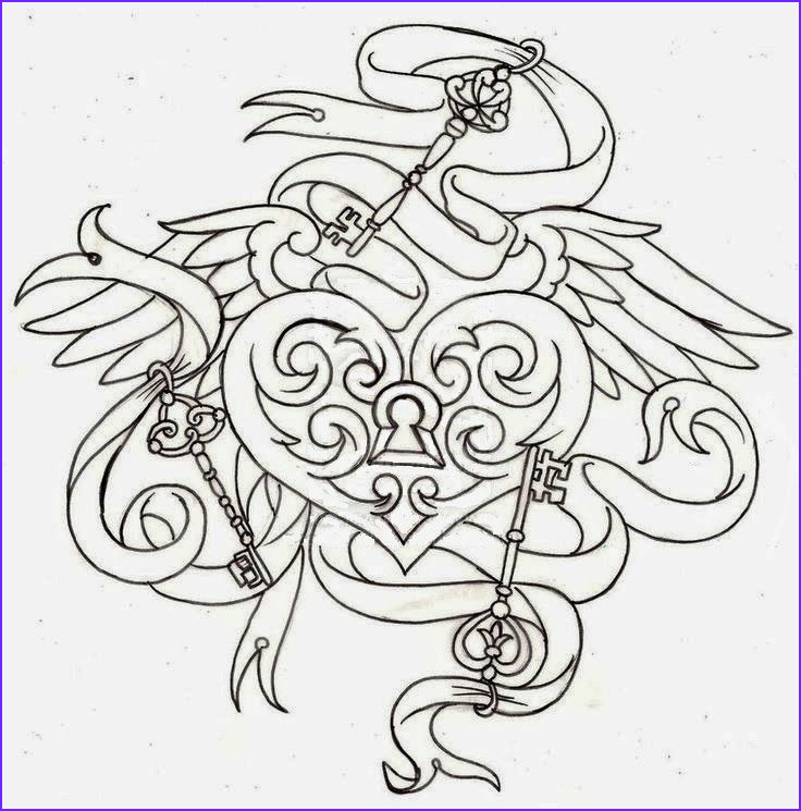 Key Coloring Page New Images Heart Shaped Locket Tattoo Stencil