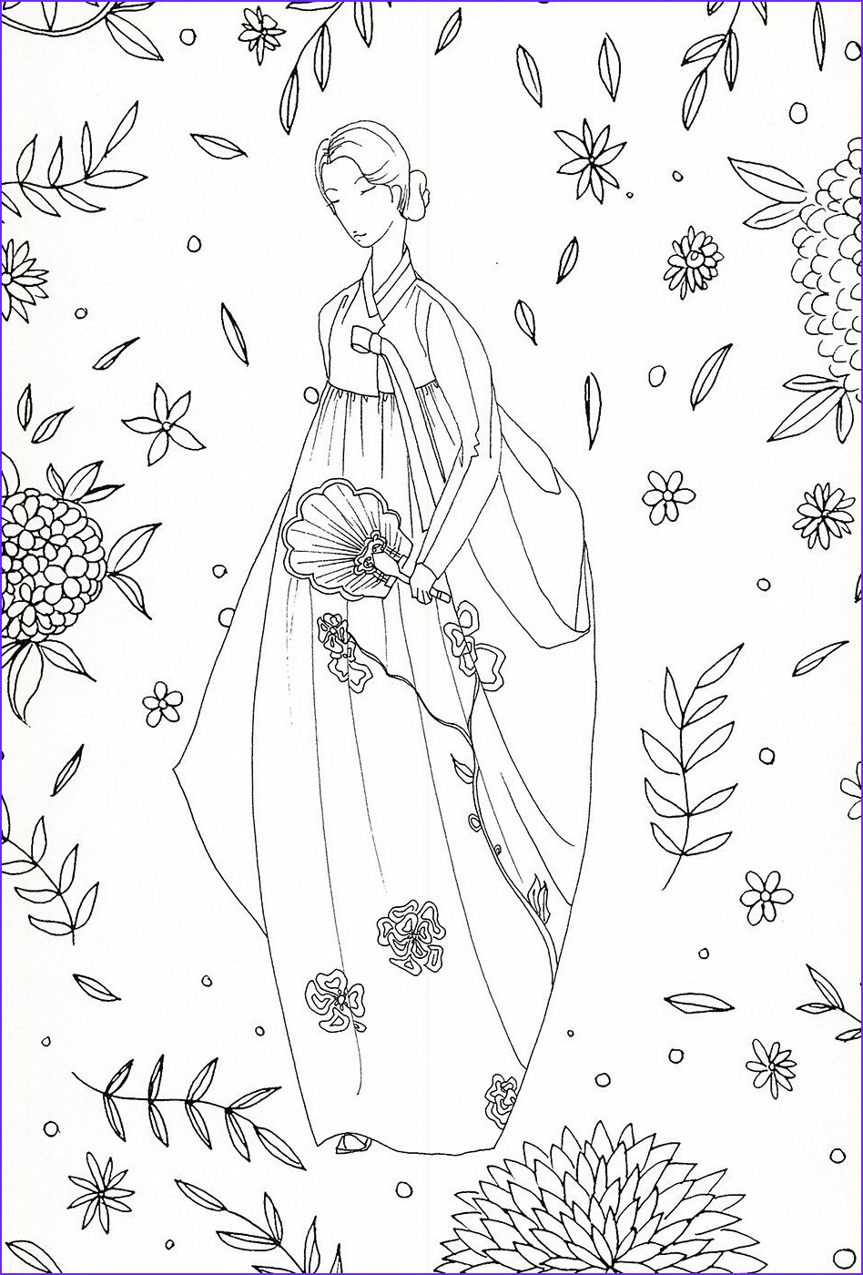 Korean Coloring Book Beautiful Stock Adult Coloring Page Korean Traditional Clothing
