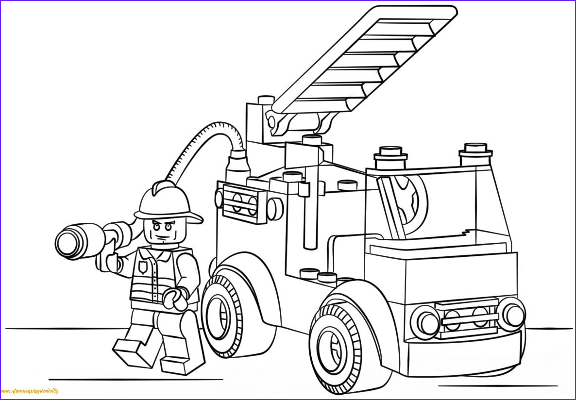 Lego City Coloring Pages Beautiful Image Lego City Fire Truck Coloring Page Free Coloring Pages