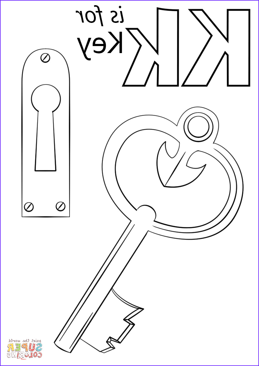 Letter K Coloring Sheet New Photos Letter K is for Key Coloring Page