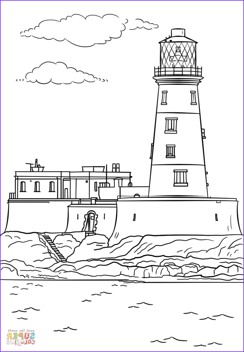 Lighthouse Coloring Pages Awesome Image Longstone Lighthouse Coloring Page