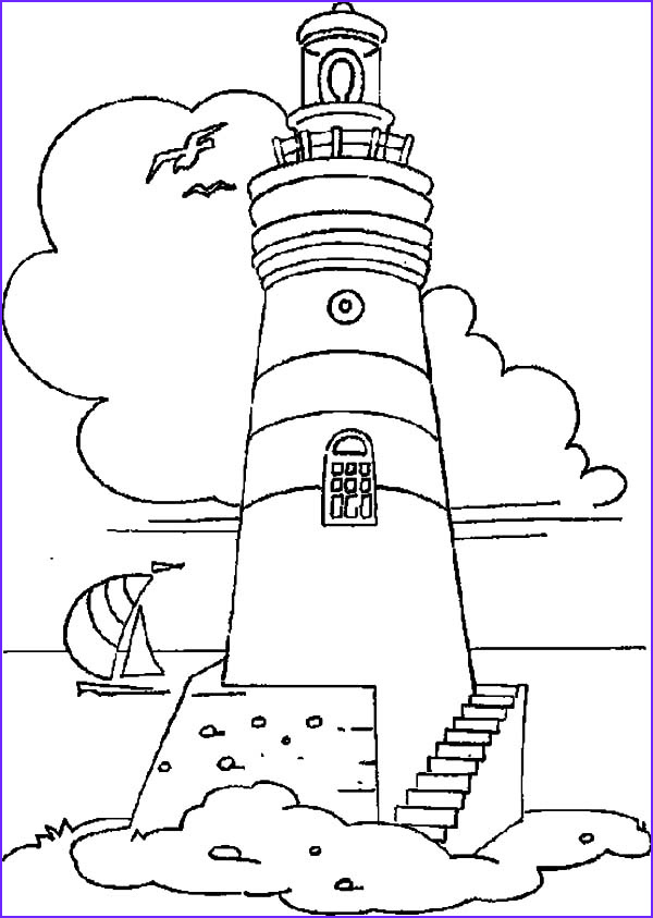 Lighthouse Coloring Pages Cool Image Lighthouse at Coastline Coloring Pages Gianfreda