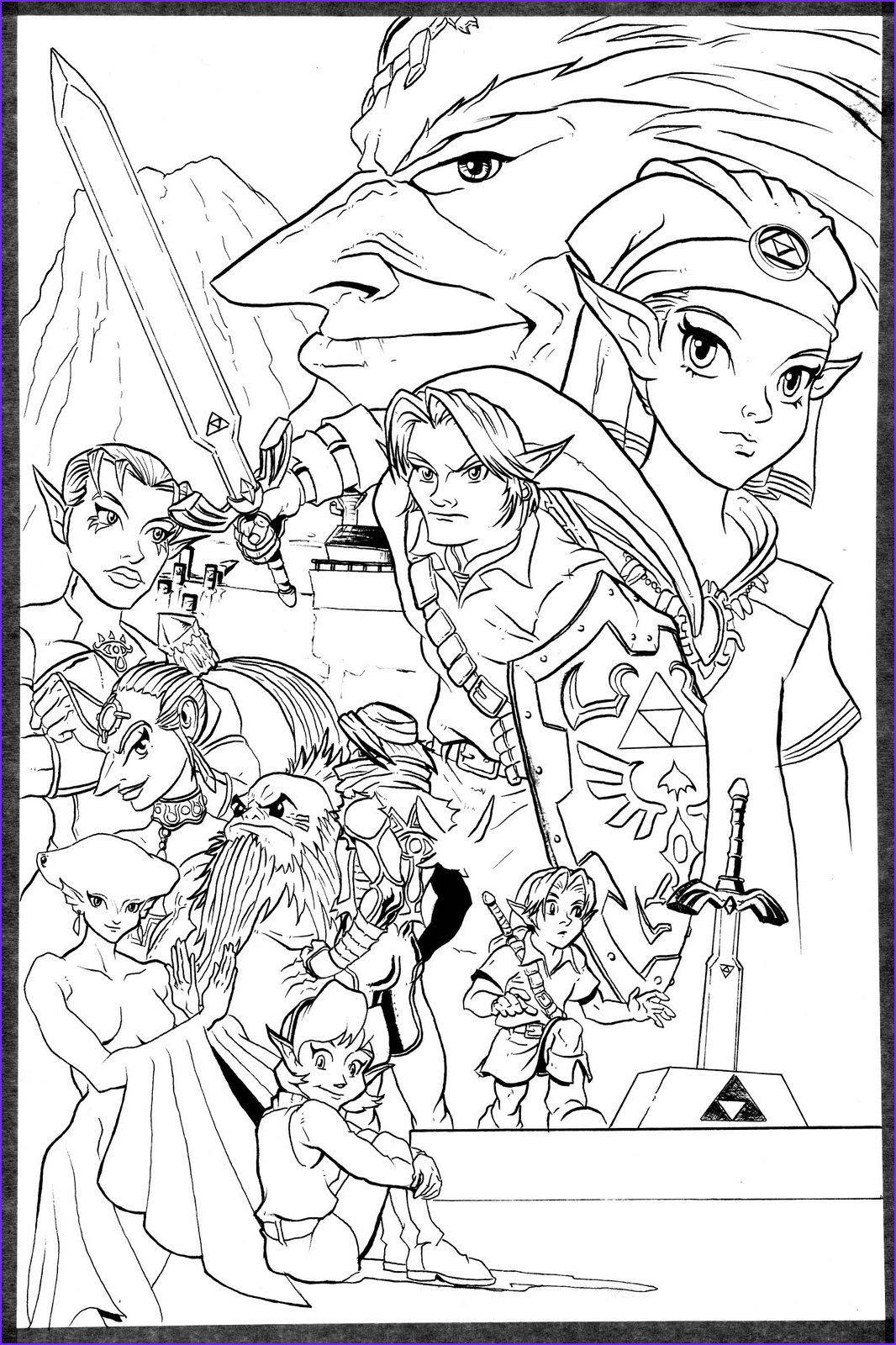 Link Coloring Pages Cool Collection Adam B Carabet the Legend Of Zelda Ocarina Of Time B&w