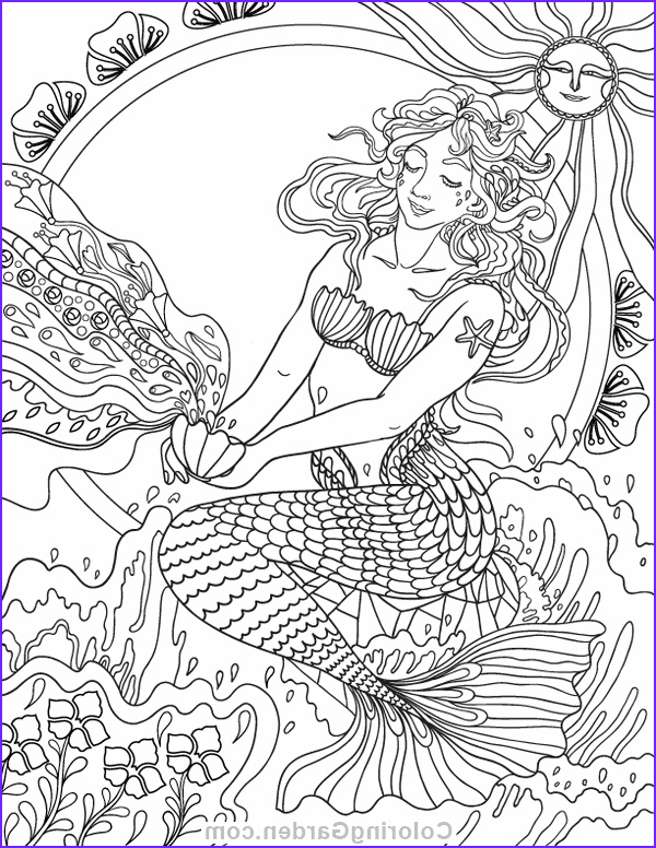 Mermaid Coloring Books for Adults Beautiful Photos Art Nouveau Mermaid Adult Coloring Page