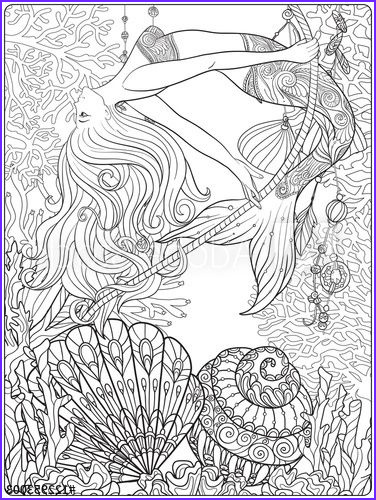 Mermaid Coloring Books for Adults Cool Photos Hand Drawn Mermaid with Gold Fish In Underwater World