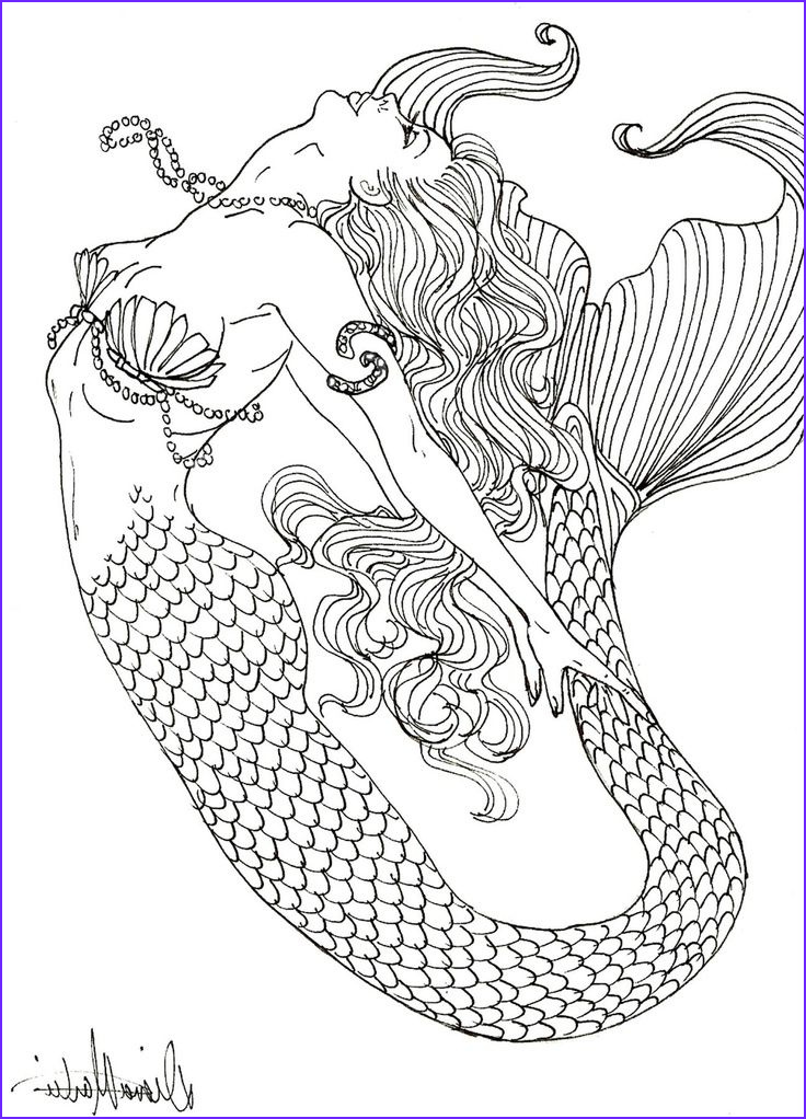 Mermaid Coloring Books for Adults New Photos Realistic Mermaid Coloring Pages