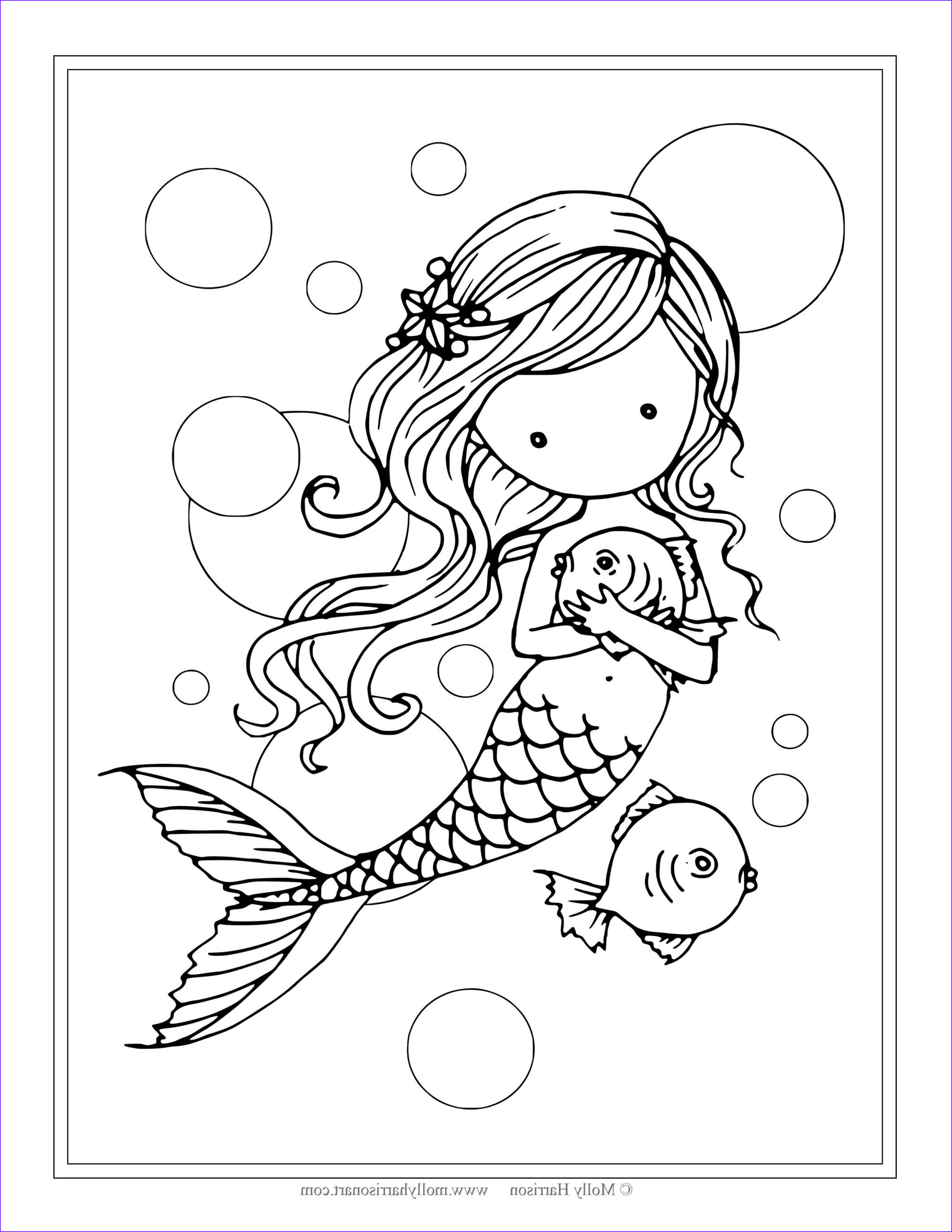 Mermaid Coloring Pages Awesome Gallery Free Mermaid with Fish Coloring Page by Molly Harrison