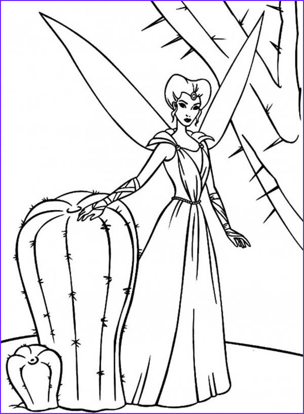 the enchantress a beautiful fairy standing beside cactus in barbie fairytopia world coloring pages
