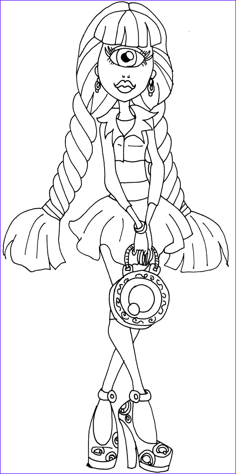 iris clops monster high coloring page