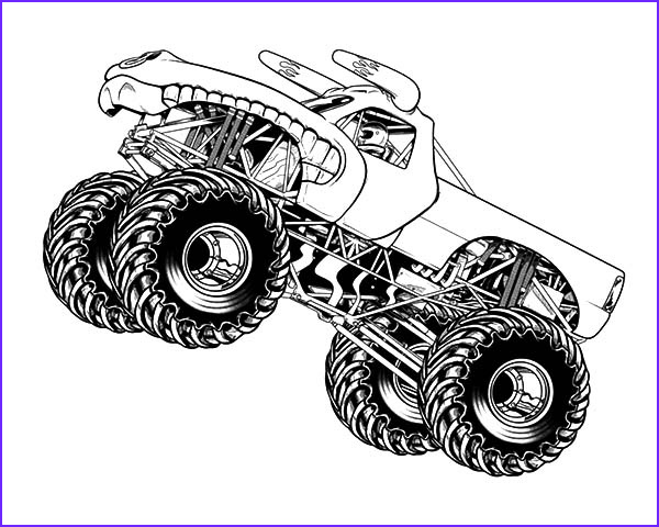 monster jam jumping horned truck coloring pages