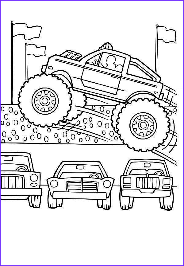 Monster Truck Coloring Book Luxury Photos Monster Truck Monster Truck Jumps Over Cars Coloring