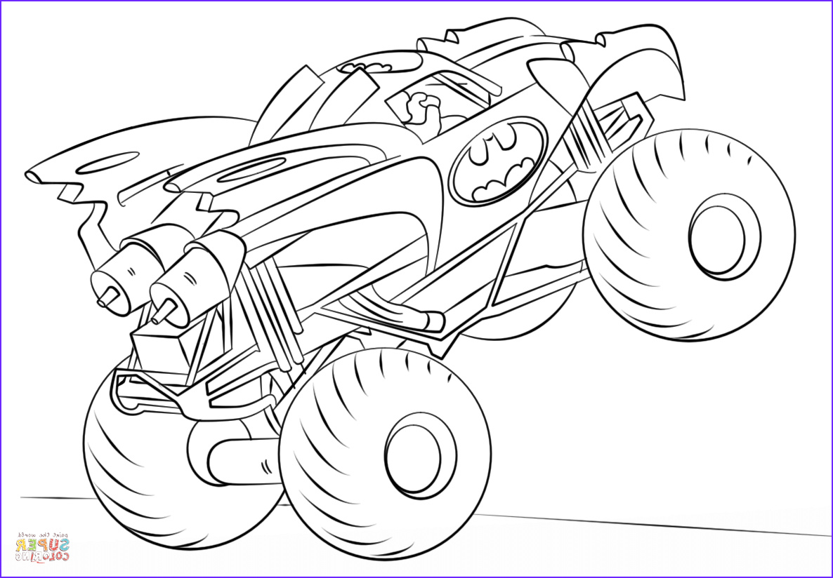 Monster Truck Coloring Pages Cool Photography Batman Monster Truck Coloring Page