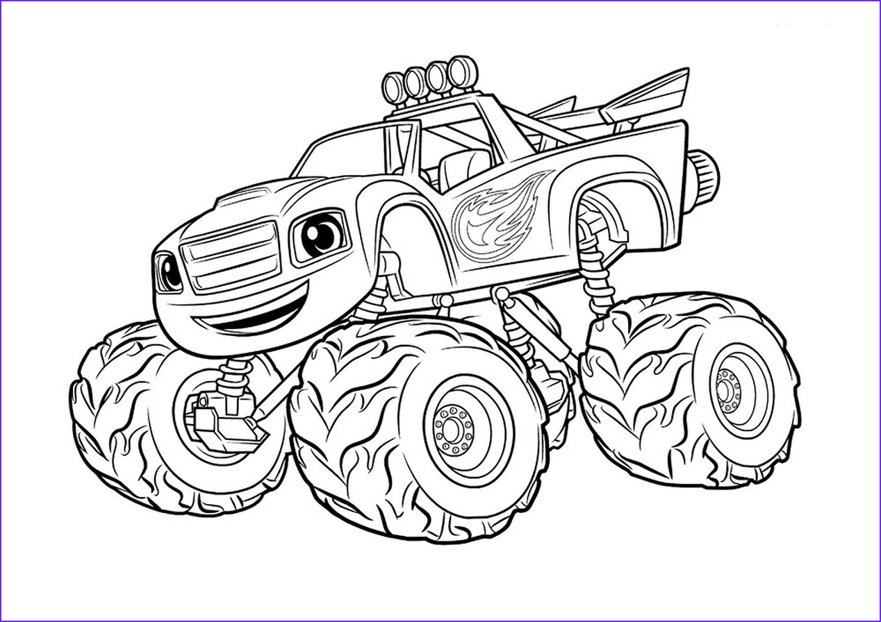 monster truck coloring page free printable for kids