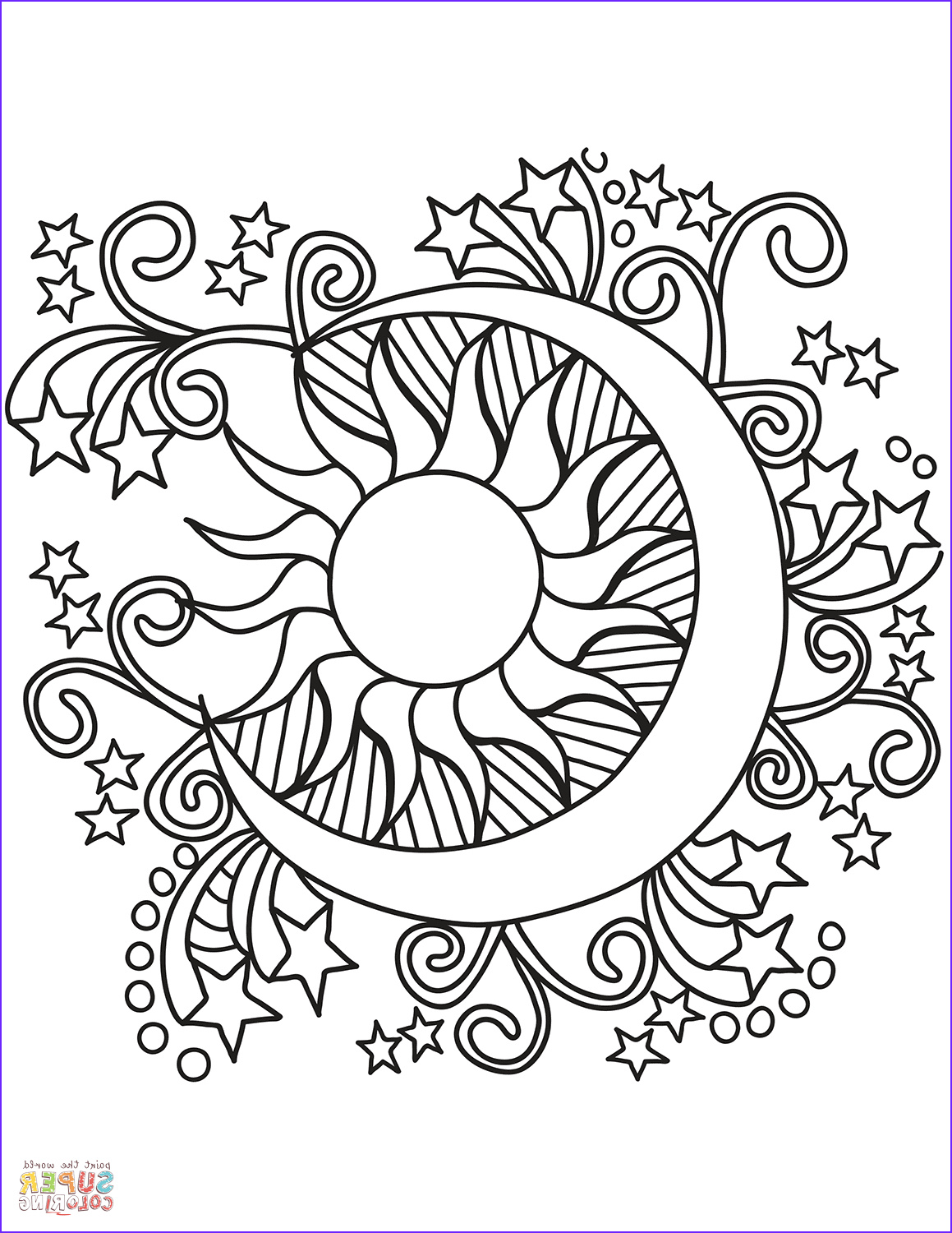 Moon Coloring Pages New Gallery Pop Art Sun Moon and Stars Coloring Page