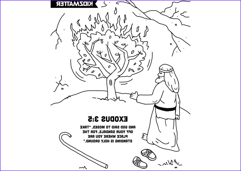 Moses and the Burning Bush Coloring Pages Awesome Images Moses Burning Bush Coloring Page W Verse