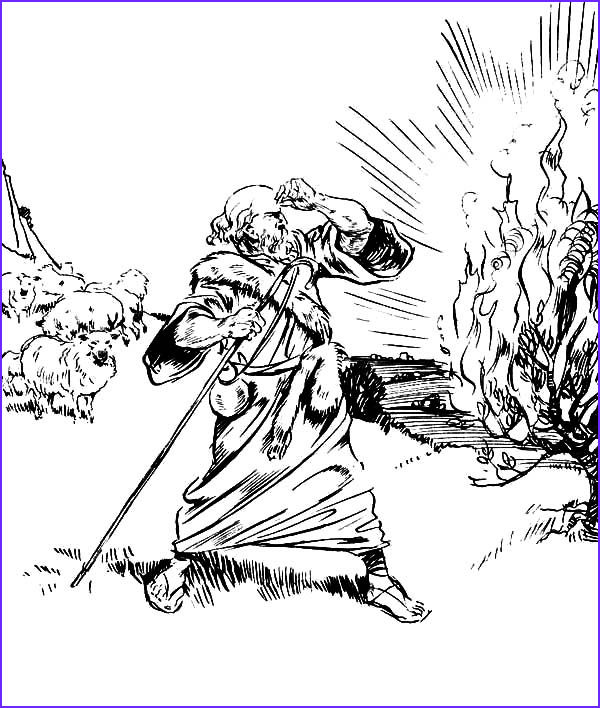 Moses and the Burning Bush Coloring Pages Beautiful Images Burning Bush Moses
