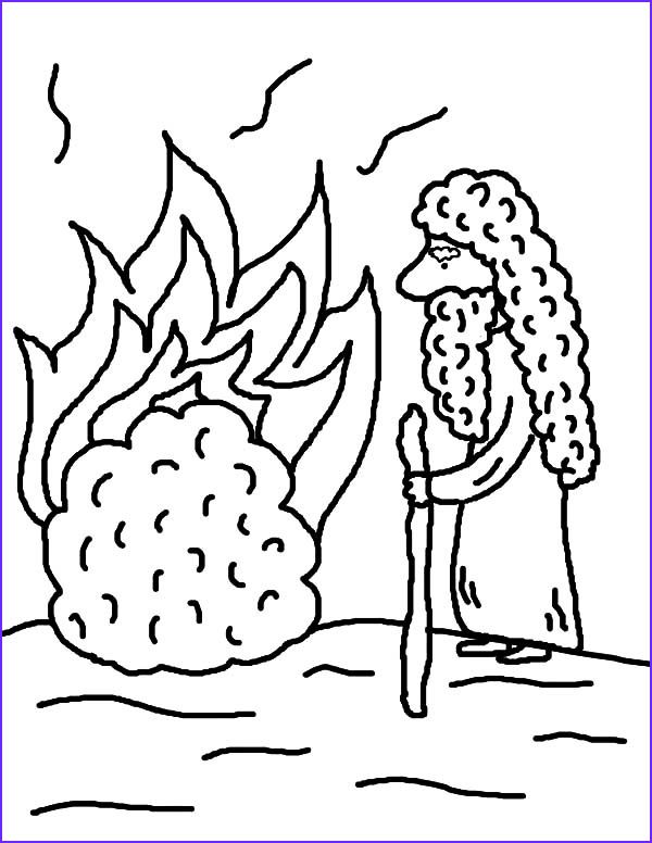 Moses and the Burning Bush Coloring Pages Luxury Image Burning Bush Moses