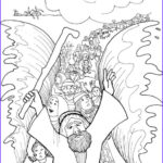 """Moses Red Sea Coloring Page Elegant Photos Moses Parting The Red Sea Coloring Page [""""israelites Cross"""